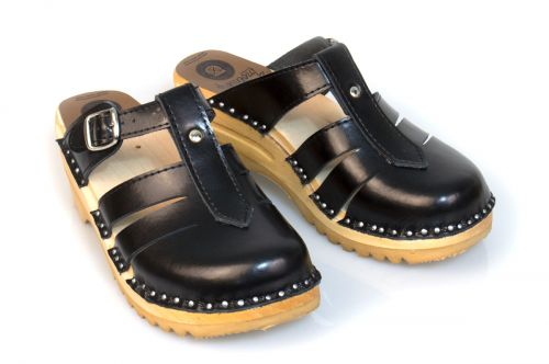 Women's Troentorp Bastad Clogs. Mary Jane. Black leather 112564