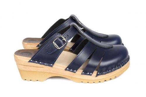 Women's Troentorp Bastad Clogs. Mary Jane. Navy leather 112566