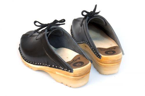 Women's Troentorp Bastad Clogs. Audubon. Black leather 112563