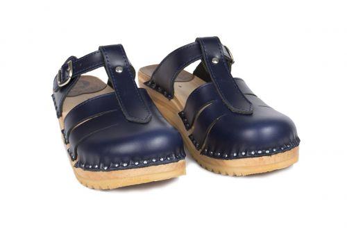 Women's Troentorp Bastad Clogs. Mary Jane. Navy leather 112567