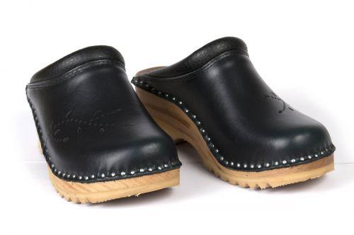 Women's Troentorp Bastad Clogs. O'Keeffe. Black Leather 112560