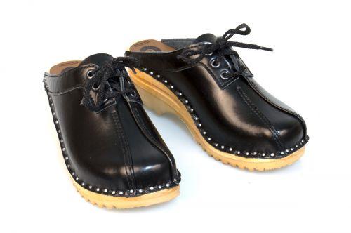 Women's Troentorp Bastad Clogs. Audubon. Black leather 112562